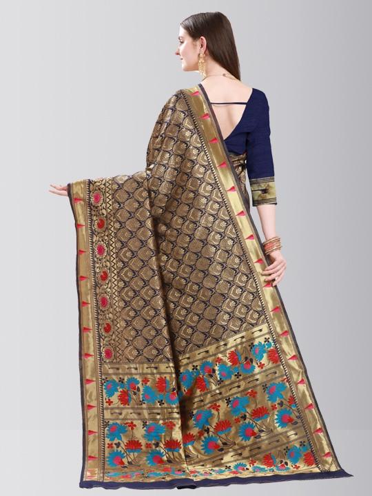 Womens Royal Blue Silk Saree with Golden Border
