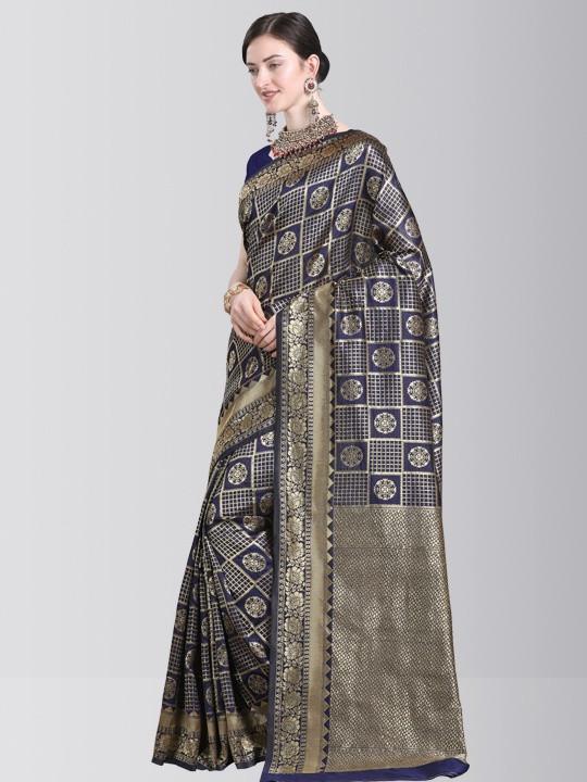 Blue Checks Kanchipuram Silk Saree with Golden Border