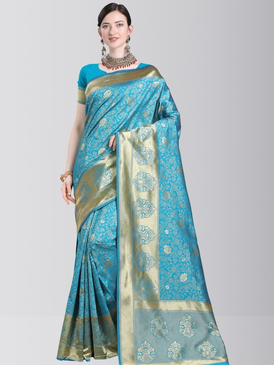 Designer Sky Blue Silk Saree with Golden Border