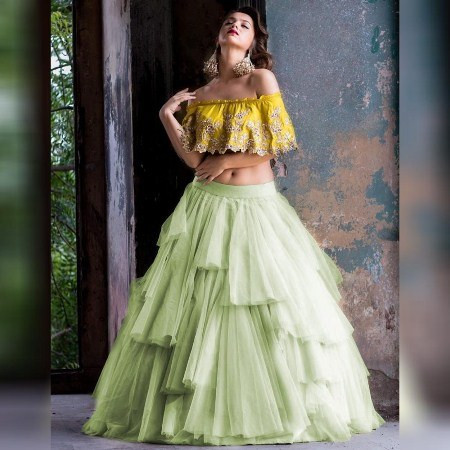 Buy Yellow and Green Net Frill Lehenga Choli  Online from YOYO Fashion