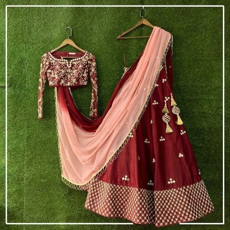 Buy Designer Maroon Silk Bridal Lehenga Choli Online from YOYO Fashion