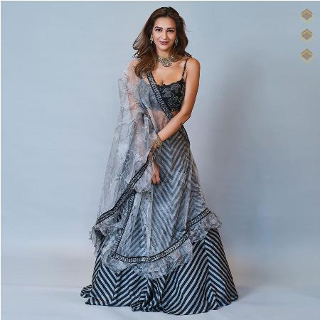Buy Grey Satin Zigzag Printed Party Wear Lehenga Online from YOYO Fashion