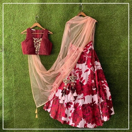 Buy Designer Red Rose Printed Silk Lehenga Choli Online from YOYO Fashion