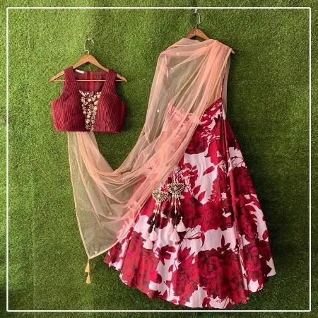 Buy Designer Red Rose Printed Silk Lehenga Choli Online from YOYO Fashion