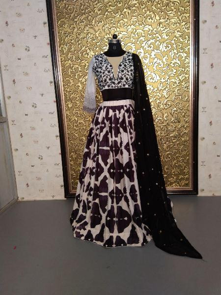 Black and White Crepe Shibori Printed Lehenga Choli