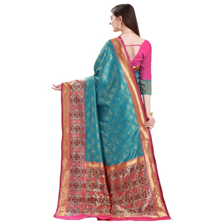 Firoji and Pink Designer Mysore Silk Saree