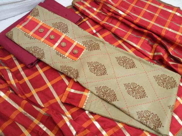 Buy Beige and Red Printed Cotton Dress Material Online from YOYO Fashion