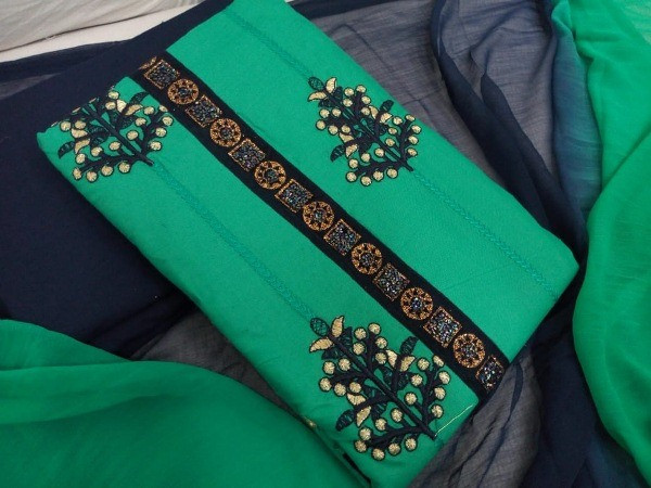 Buy Green Cotton Embroidered Unsttiched Dress Material Online from YOYO Fashion