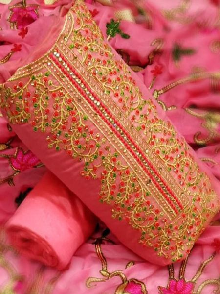 Purchase Pink Chanderi Embroidered Unstitched Dress Material Online