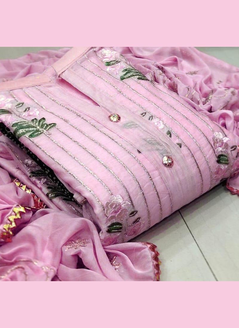 Designer Pink Embroidered Chanderi Dress Material