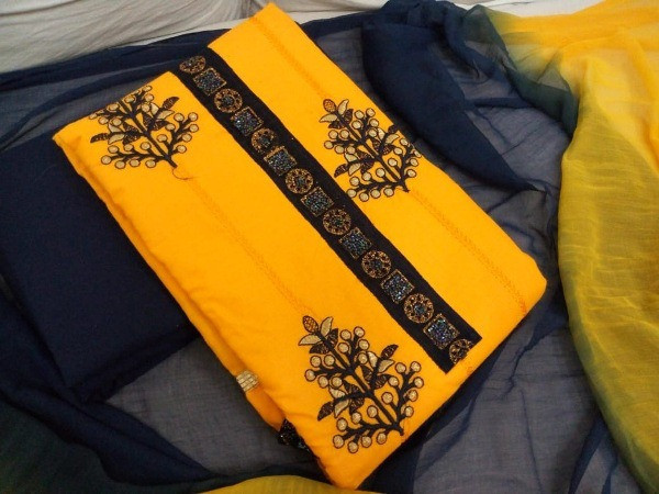 Yellow Embroidered Cotton Dress Material