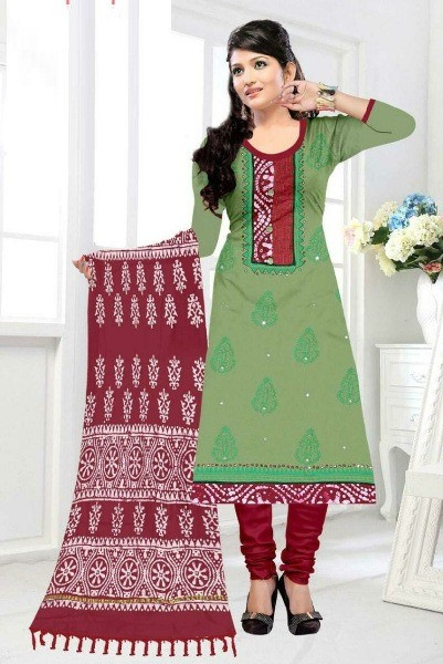 Buy Parrot Green and Red Chanderi Printed Suit Material Online from YOYO Fashion