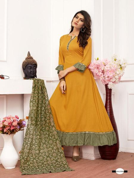 Buy Yellow Rayon Long Anarkali Gown with Dupatta Online from YOYO Fashion