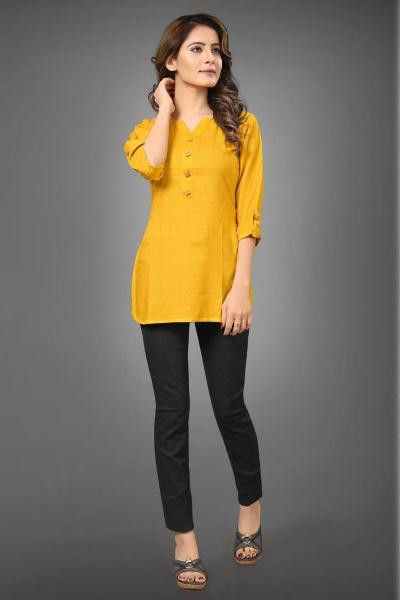 Buy Yellow Cotton Ladies Long Top for Jeans Online from YOYO Fashion