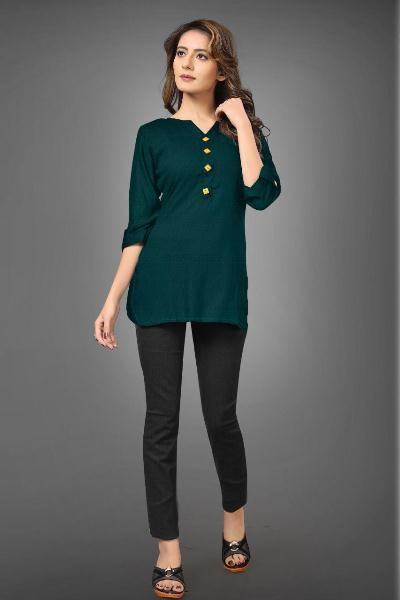Buy Simple Green Cotton Jeans Top for Girls Online from YOYO Fashion
