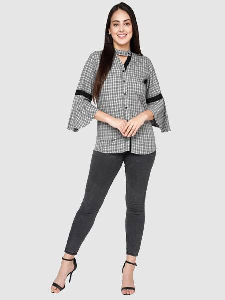 Buy Designer Grey Printed Bell Sleeve Top Online from YOYO Fashion