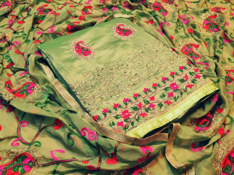 Green Embroidered Dress Material