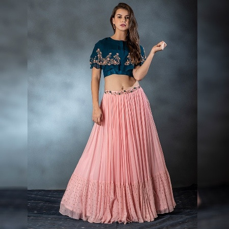 Designer Peach Lehenga Choli for Wedding