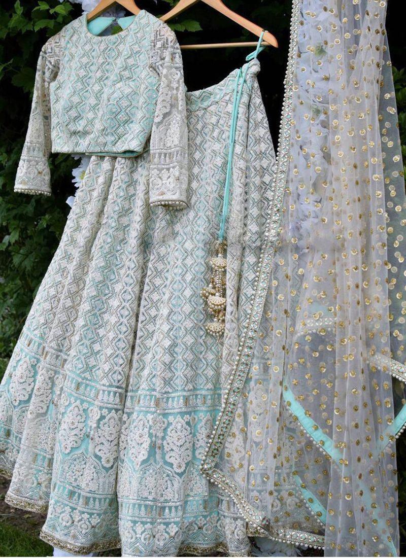 Shop Designer Sky Blue Net Wedding Lehenga Choli - Online Shopping From YOYO Fashion