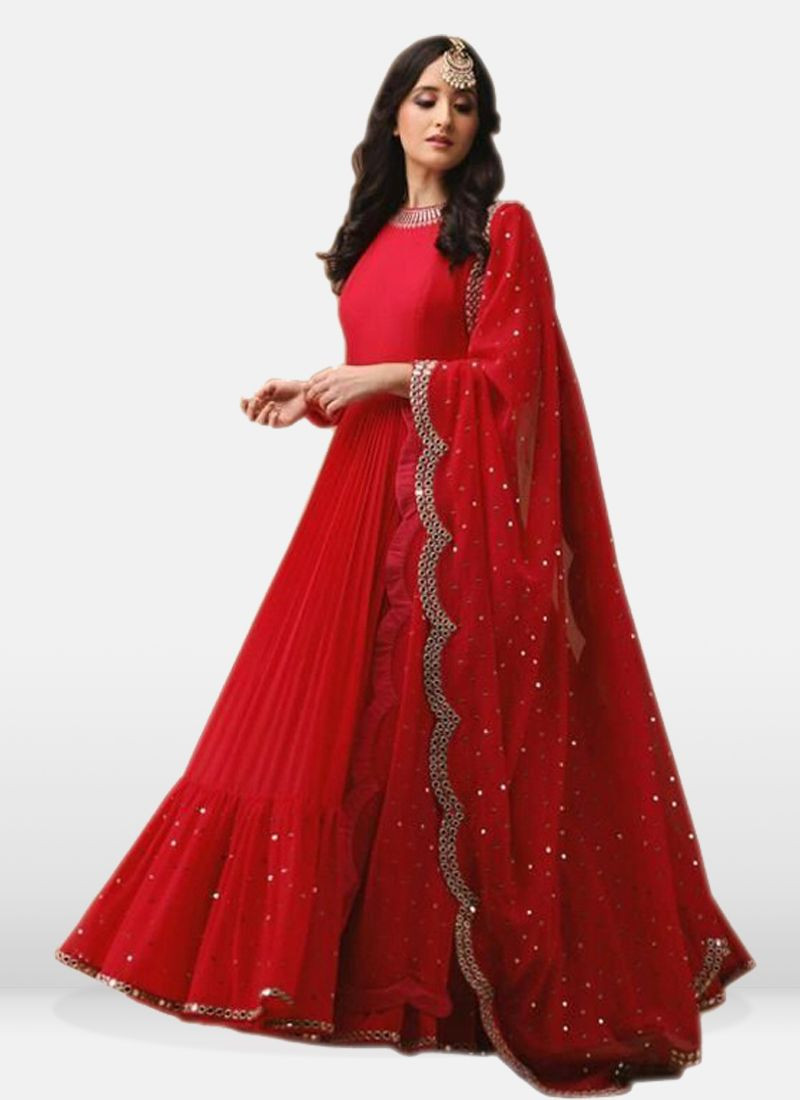 Red Georgette Embroidered  Suits
