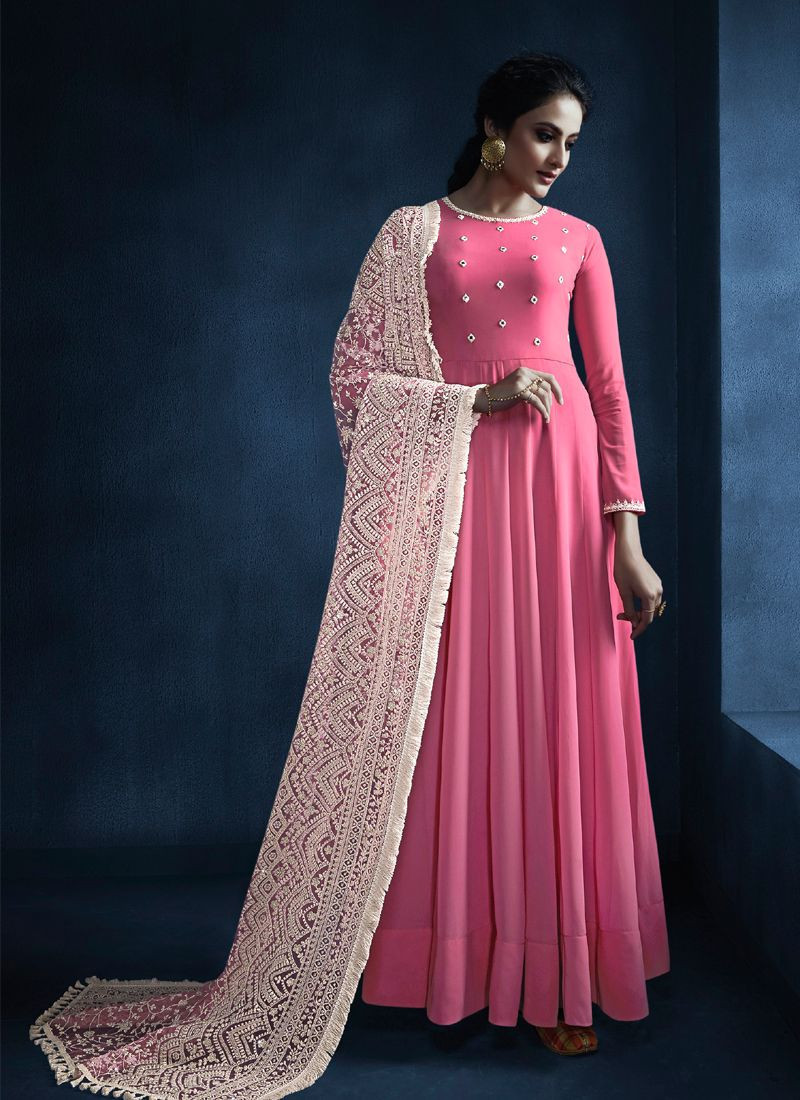 Designer Pink Anarkali Dress