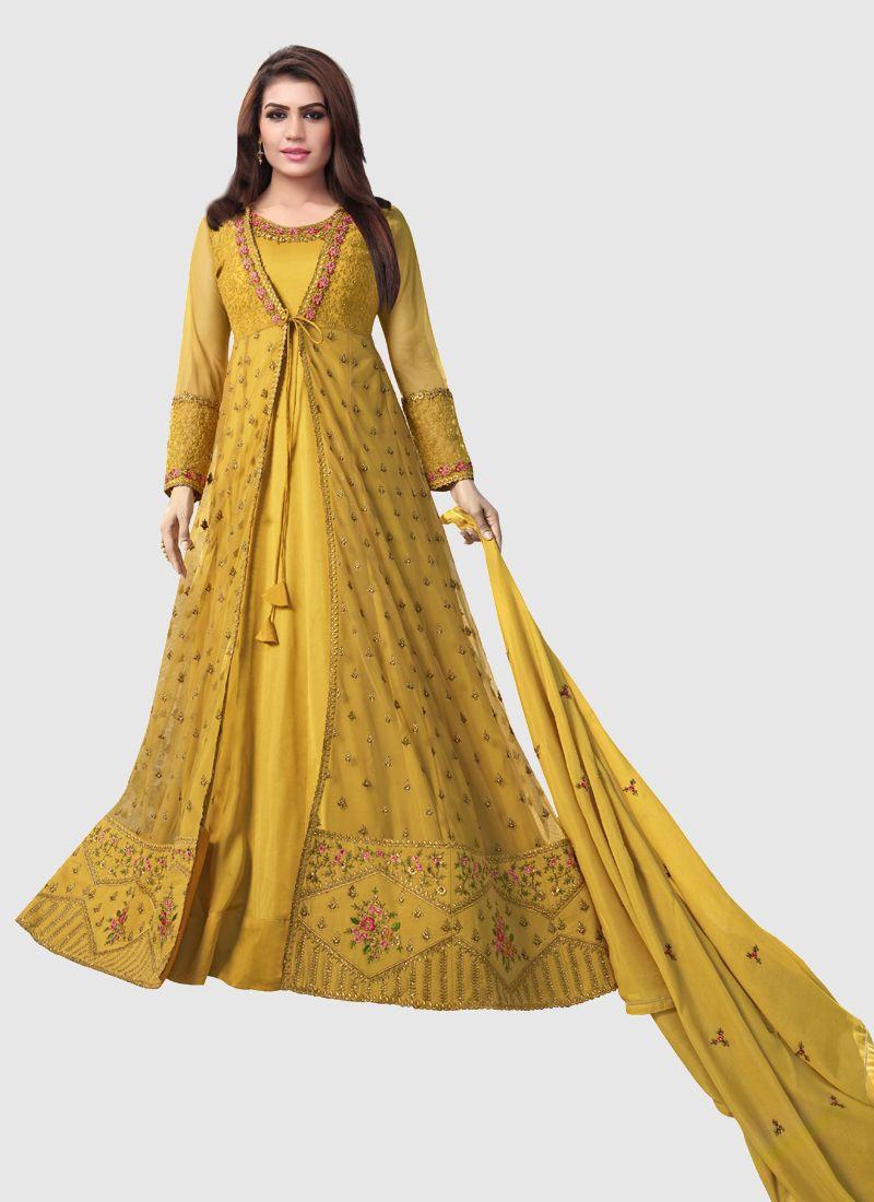 Yellow Georgette Anarkali Dress