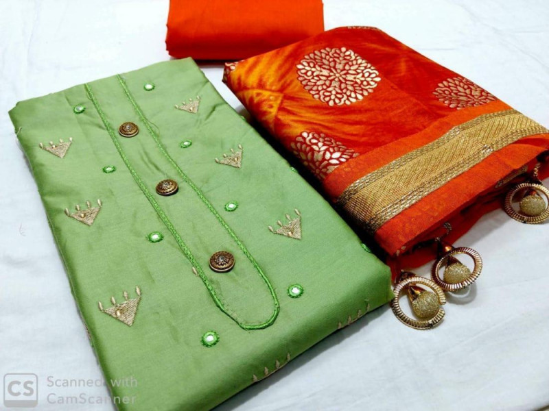 Green And Orange Cotton Suit Material