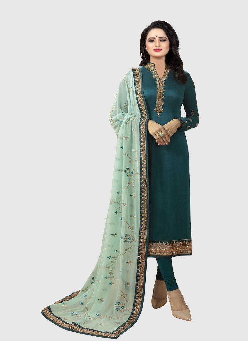 Turquoise Designer Salwar Suit With Printed Dupatta