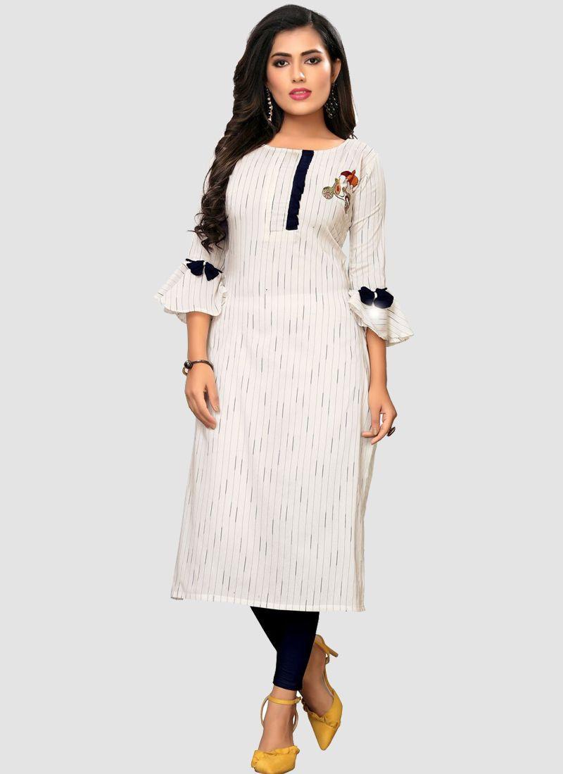 Womens Off White Cotton Long Straight Kurti