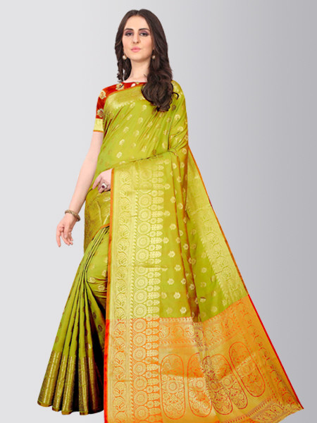 Latest Parrot Green Designer Silk Saree for Diwali