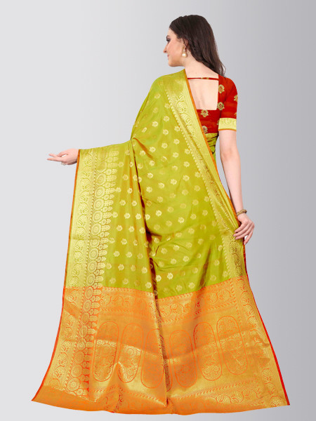 Parrot Green Designer Heavy Border Silk Saree - Back Side - YOYO Fashion