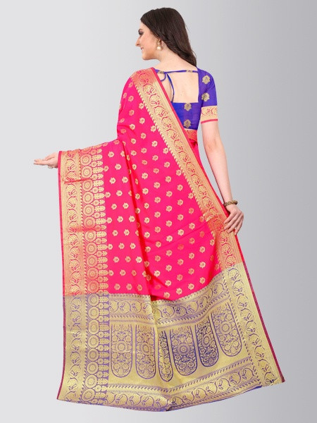 Pink Gold Woven Border Banarasi Saree - Back Pattern - YOYO Fashion