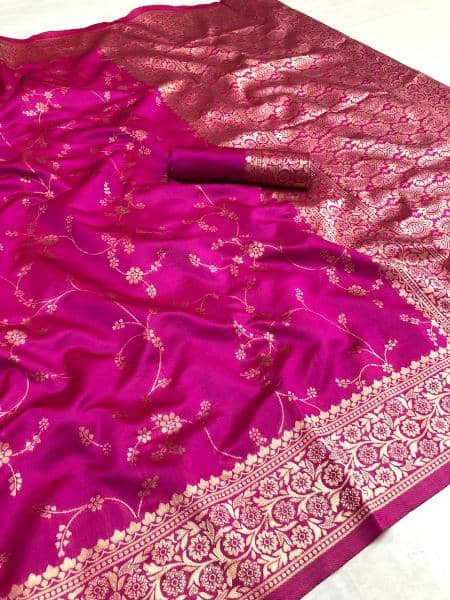 Pink Golden Zari Woven Wedding Silk Saree
