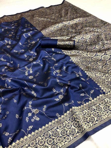 Blue Golden Zari Woven Wedding Silk Saree