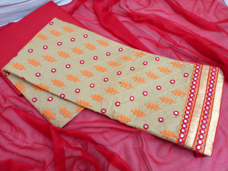 Beige Embroidered Cotton Dress material