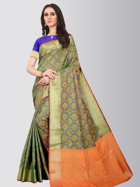 Green Pure Patola Silk Designer Saree for Ladies