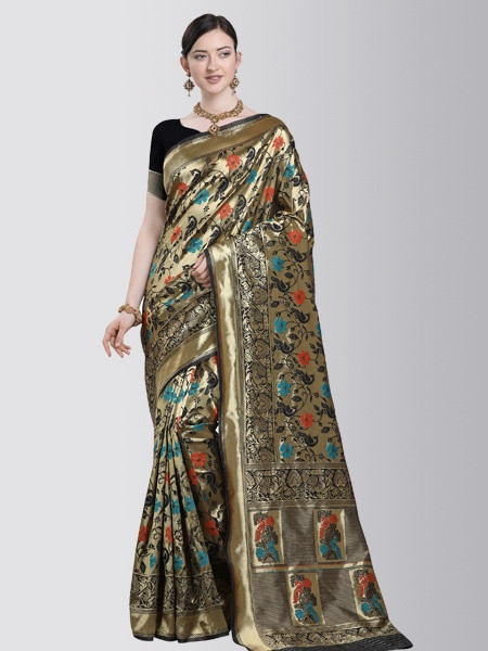 Ladies Fancy Partywear Black Silk Saree