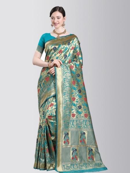 Turquoise Designer Kanchipuram Wedding Silk Saree