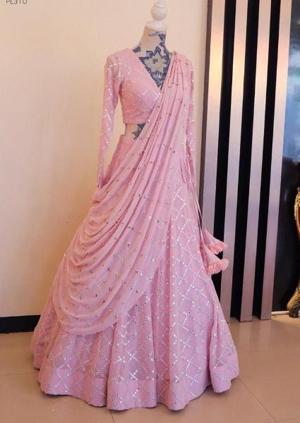 Buy Baby Pink Silk Mirror Work Lehenga Online from YOYO Fashion