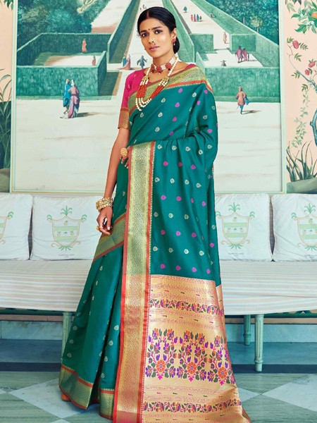 Buy Designer Turquoise Wedding Silk Saree Online from YOYO Fashion