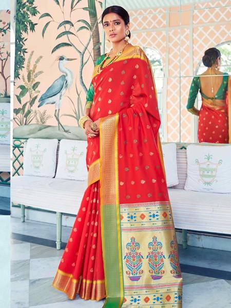 Buy Designer Red Bridal Wedding Silk Saree Online from YOYO Fashion
