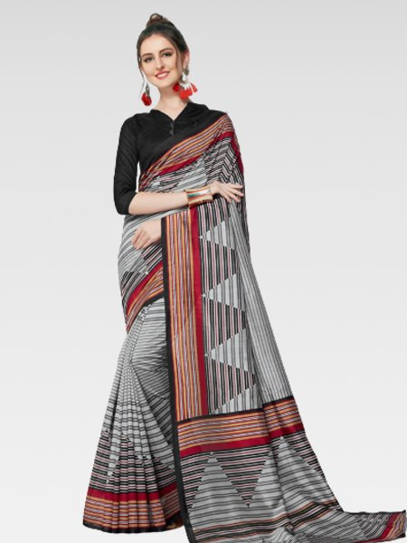 Buy Black and Grey Bhagalpuri Silk Saree Online from YOYO Fashion