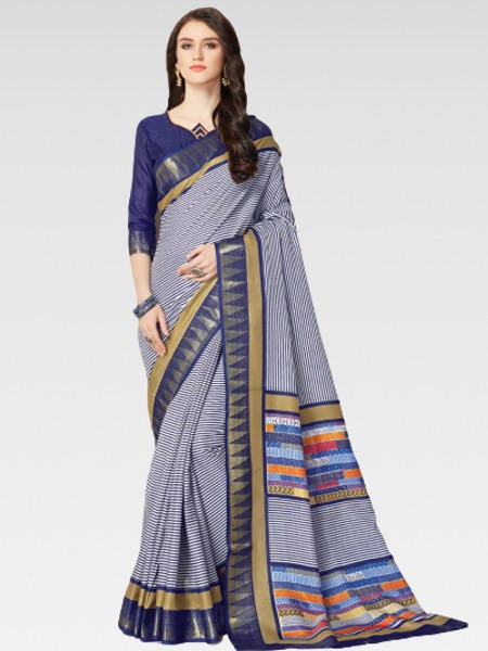 Buy Simple Blue Printed Bhagalpuri Saree Online from YOYO Fashion