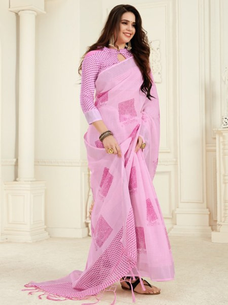 Buy Pink Pure Cotton Linen Printed Saree Online from YOYO Fashion