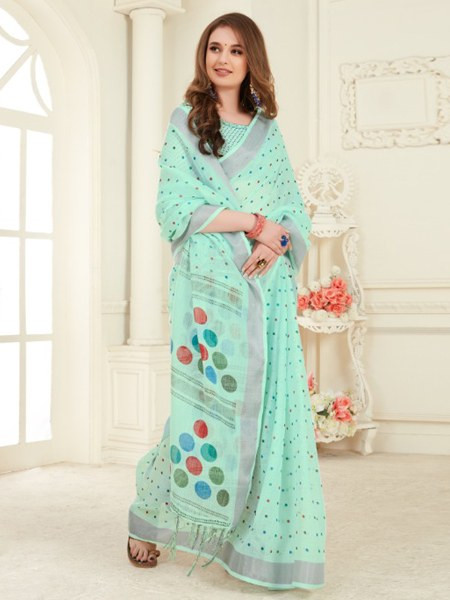 Turquoise Printed Cotton Linen Saree