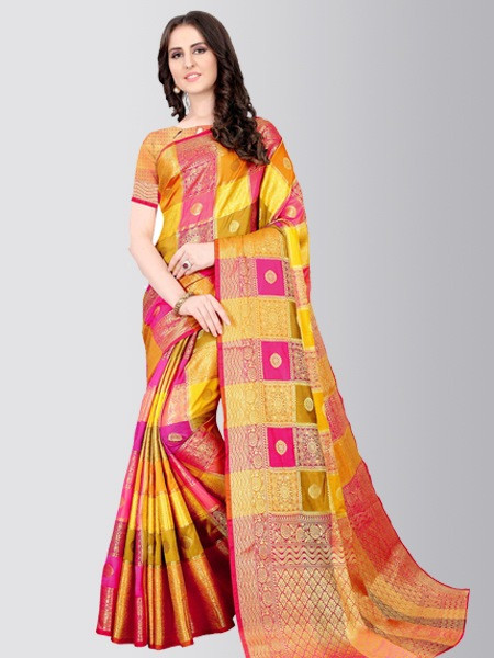 Yellow Checked Cotton Silk Wedding Saree