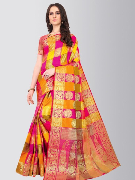 Ladies Pink Checked Pure Silk Saree