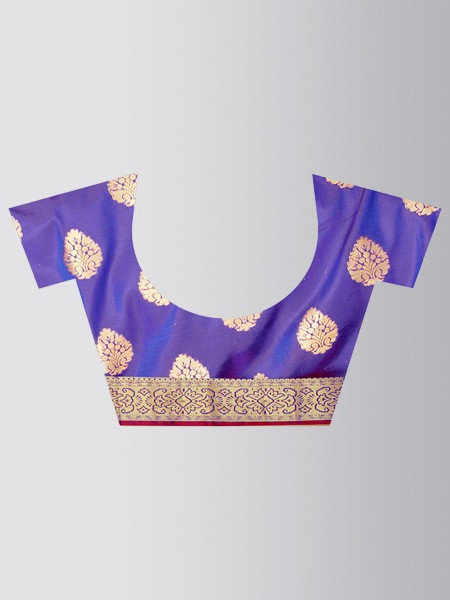 Peach Gold Woven Border Art Silk Saree - Blouse Pattern - YOYO Fashion
