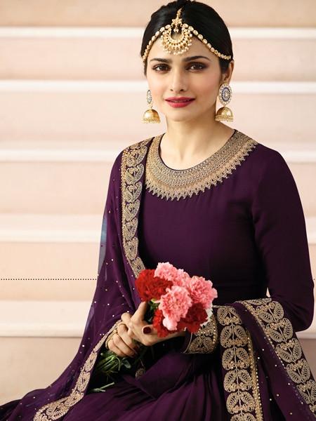 Latest Designer Womens Purple Georgette Long Anarkali Dress