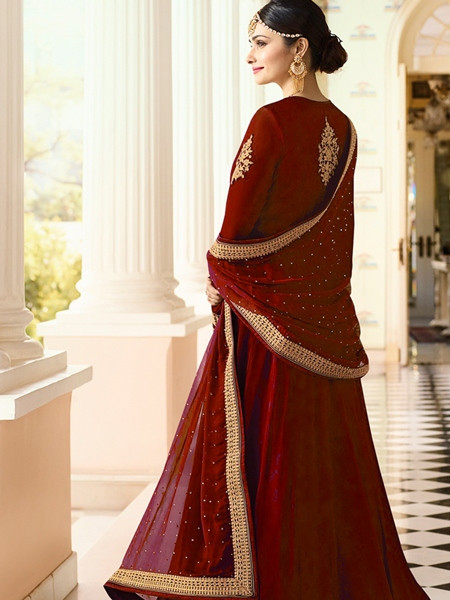 Designer Red Georgette Indian Anarkali Suit For Women